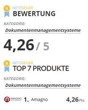 Netzsieger Screen - AMAGNO auf dem 1. Rang beim Vergleichsportal NETZSIEGER
